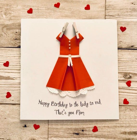 Photo of Personalised Mother's Day card featuring pretty origami dress. Handmade birthday card daughter, girl