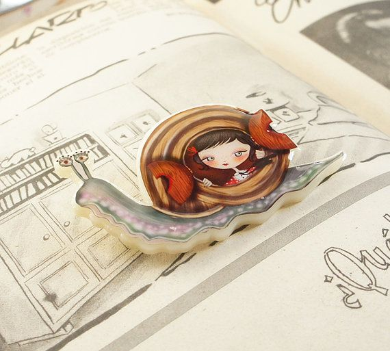 Snail Brooch or Necklace by LaliblueShop