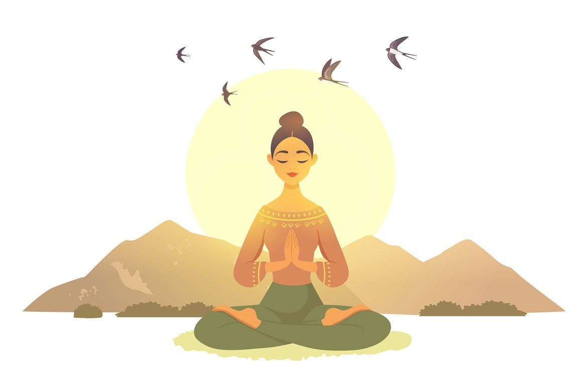 Meditation Girls Yoga Illustration Yoga Art Meditation Images