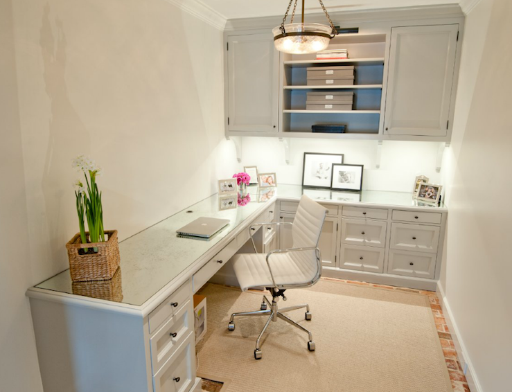 Suzie Munger Interiors L Shaped Desk With Pale Gray Painted