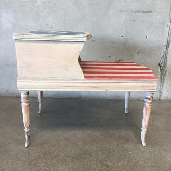 Repurposed Hand Painted Side Table 24 X 18 X 28 Painted Side Tables Vintage Furniture Furnishings