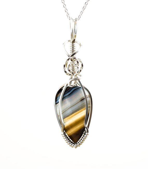 Botswana Agate Necklace - Wire Wrap Pendant - Botswana Agate Pendant ...