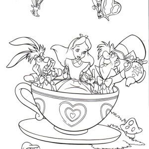 fantasyland mad tea party alice in wonderland coloring - Princess Tea Party Coloring Pages