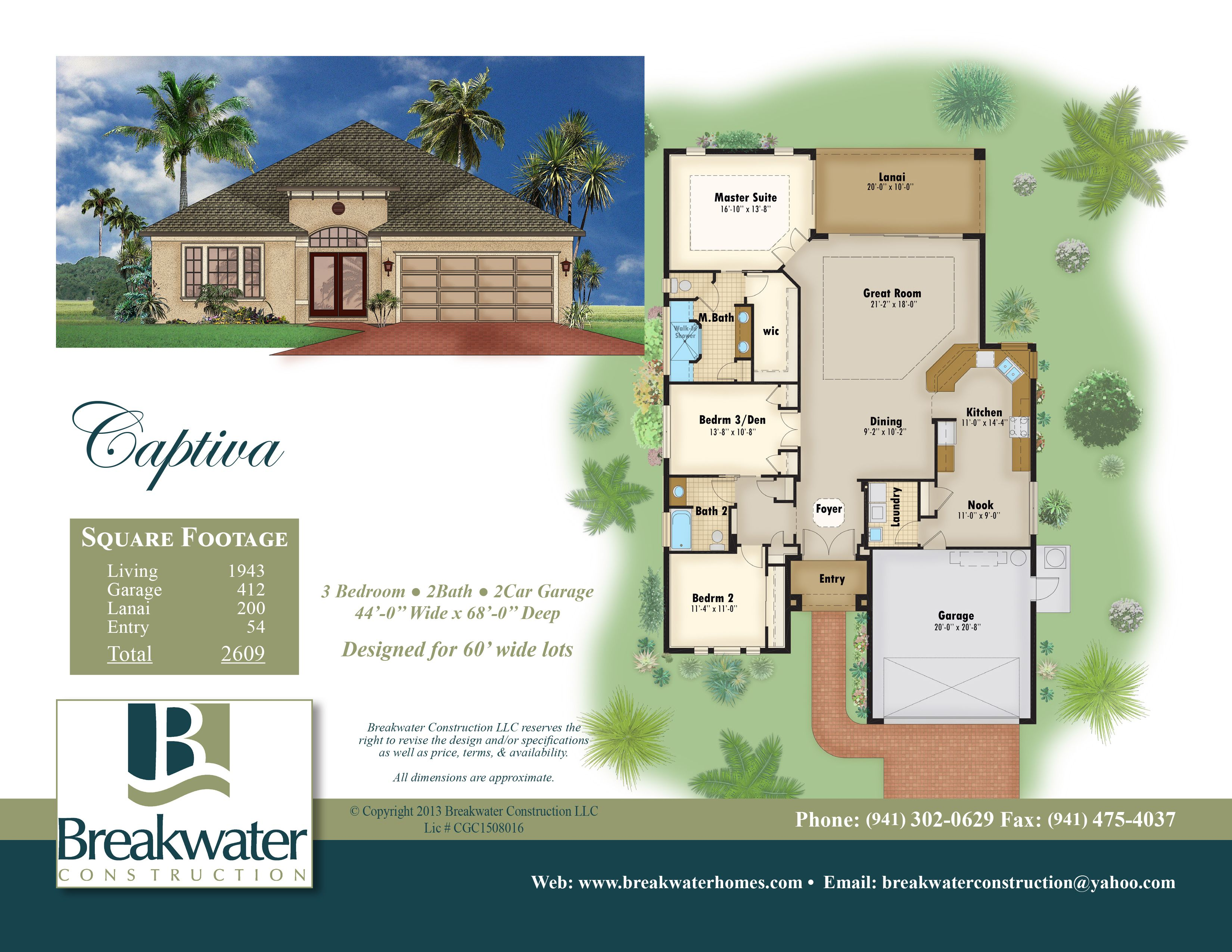 Color floor plan and brochure sample florida home style for Sample house plan