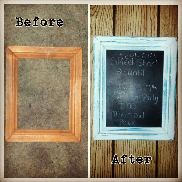 Memo chalk board made out of an old picture frame. Using spray ...