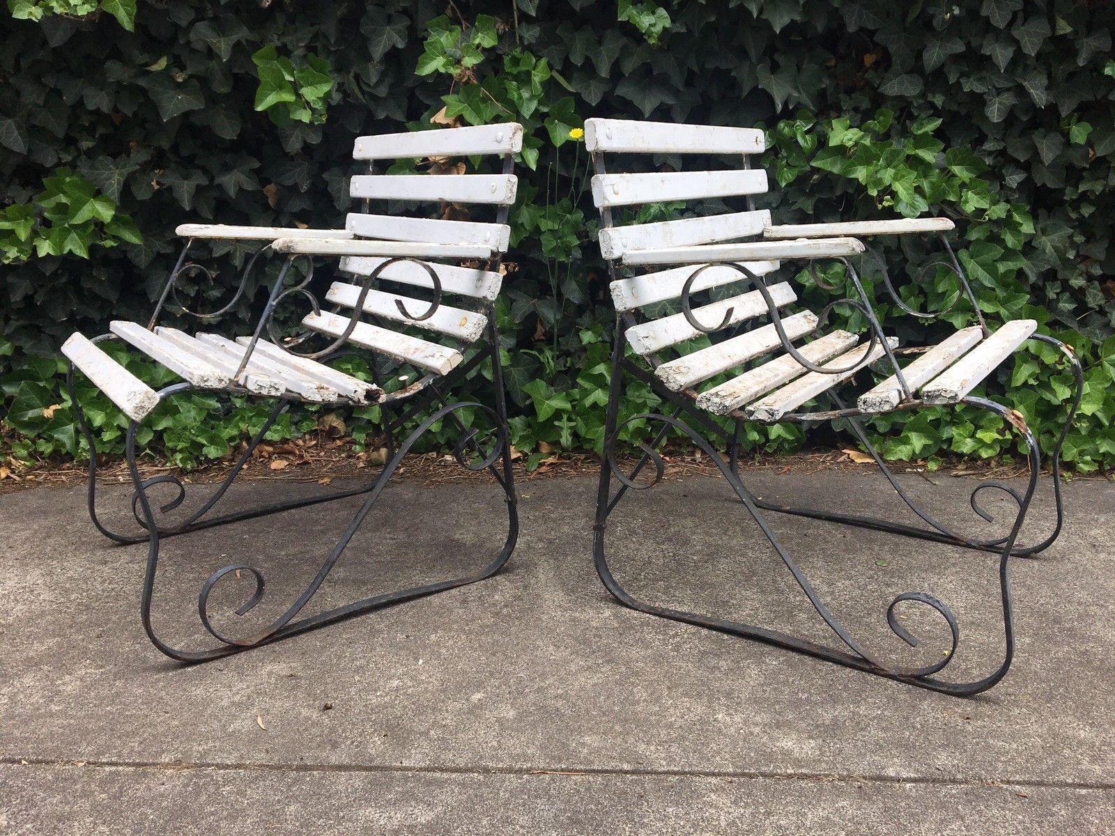 Retro Vintage 50s Wrought Iron Outdoor Chairs Atomic Rustic Mid Century Ebay Iron Patio Furniture Outdoor Chairs Wrought Iron Patio Furniture