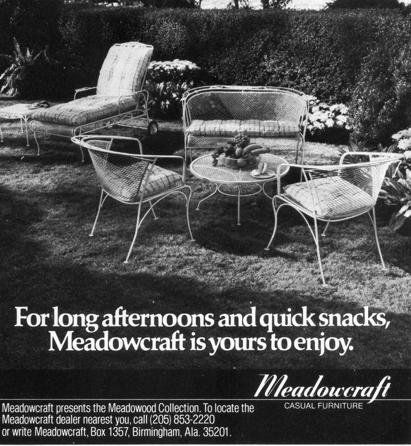 Meadowcraft 1960s Ad - Reliable Furniture Supplier