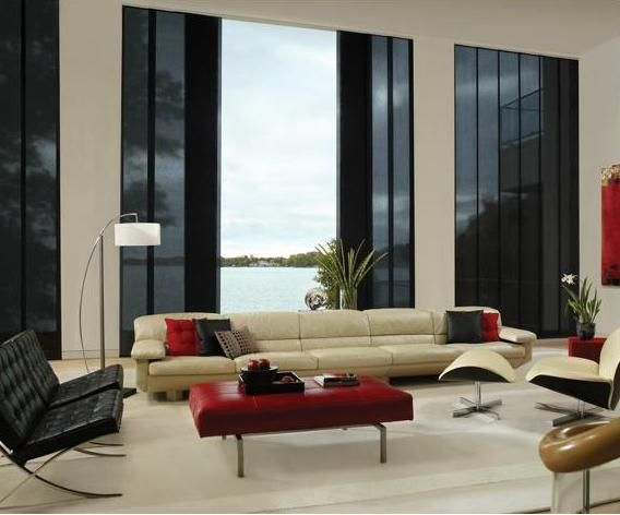 Pin By Sonic On White Sofa Window Treatments Living Room Living Room Blinds Contemporary Window Treatments