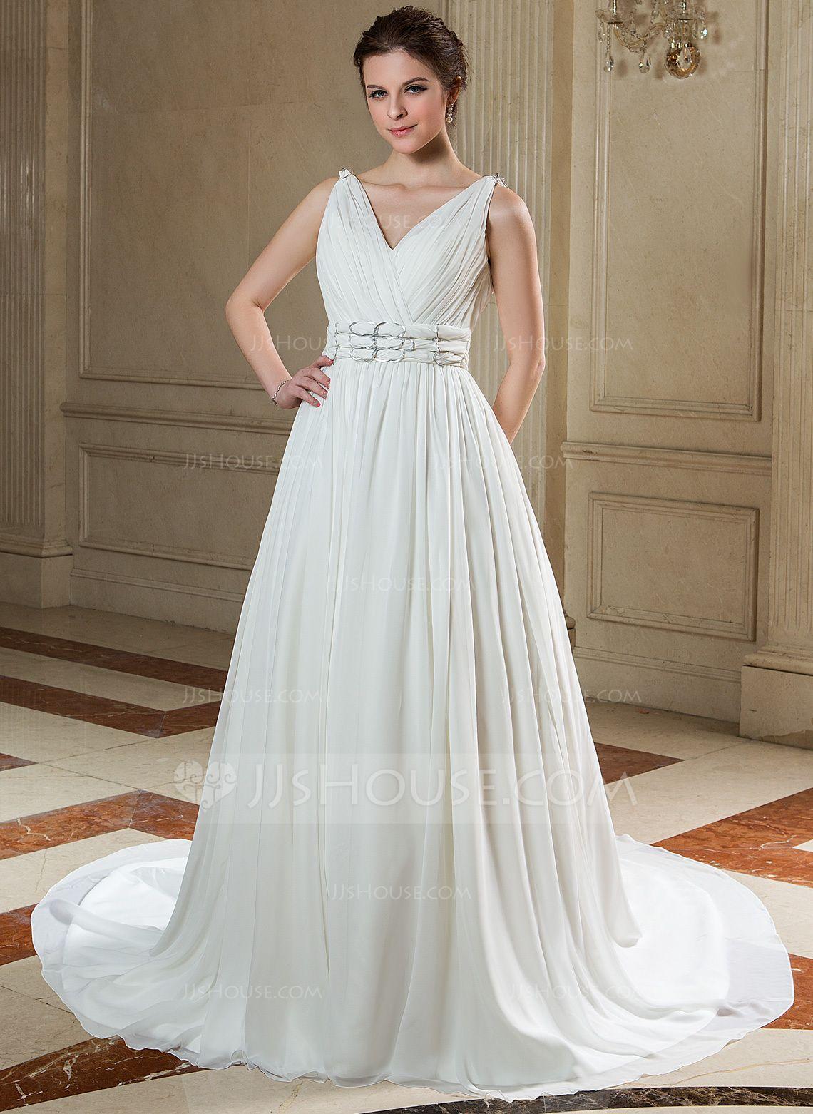 Ivory beach wedding dresses  ALinePrincess Vneck Chapel Train Ruffle Beading Zipper Up Regular