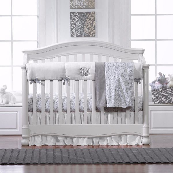 Simply White And Gray Bumperless Bedding With Images Crib