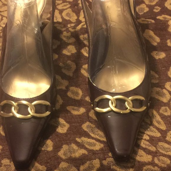 "ETIENNE AIGNER SLiNG BACK SHOE EGGPLANT/BROWN PATENT EGGPLANT/BROWN 21/2"" HEEL SLINGBACK man made uppers. NWT Etienne Aigner Shoes Heels"