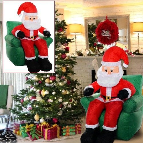 6Ft Santa Claus Sitting On Sofa Inflatable Christmas Lighted Yard - inflatable christmas yard decorations