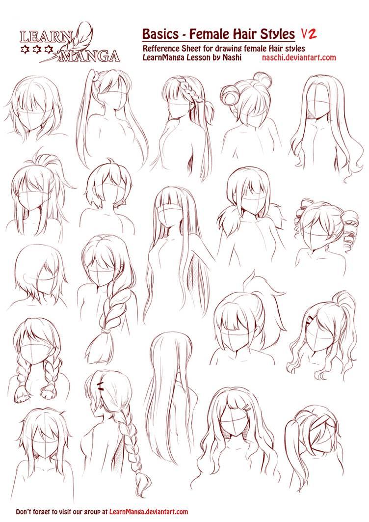 Photo of Learn Manga Basics Female Hair styles V2 by Naschi on DeviantArt