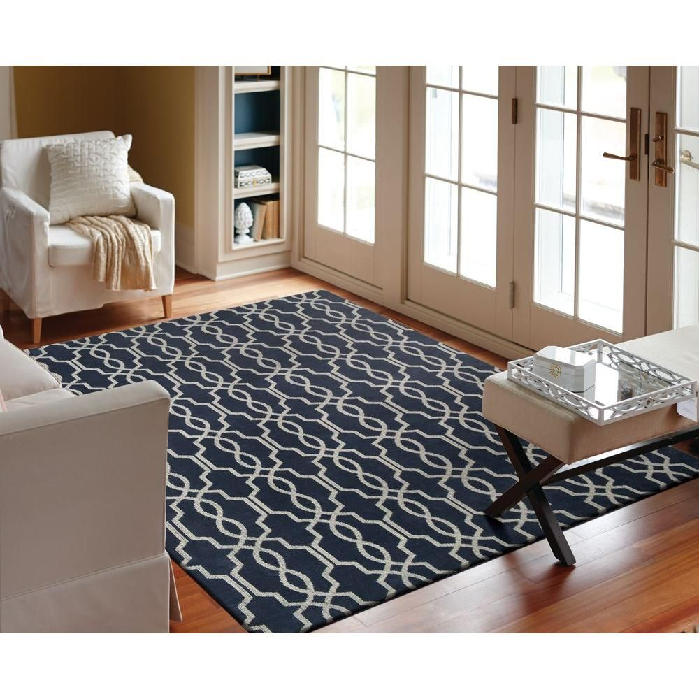 Home Decorators Collection Kingston Geo Navy/Ivory 8 Ft. X 10 Ft. Indoor  Area Rug 93811 At The Home Depot   Mobile Part 91