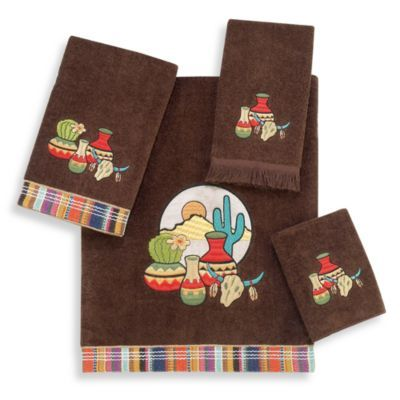Avanti taos mocha bath towels 100 cotton for Southwestern towel bars