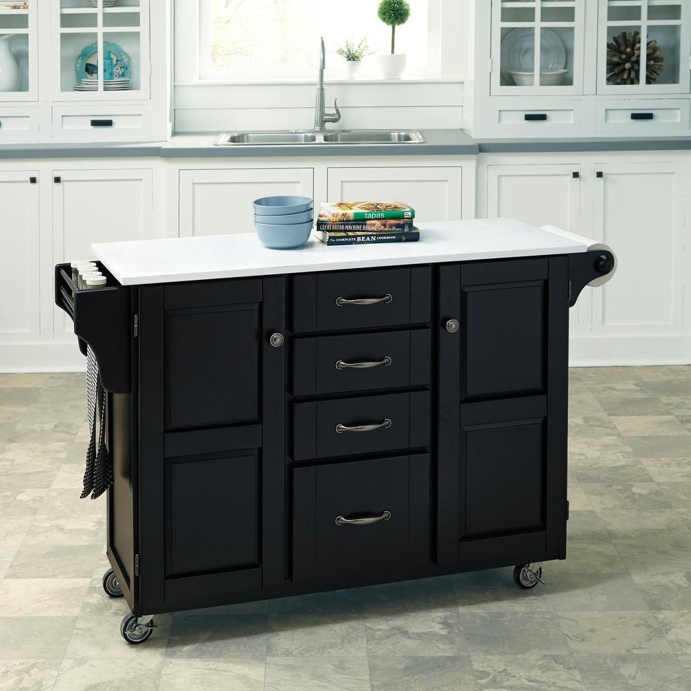 Create-a-Cart Black Kitchen Cart With Quartz Top, Black/White Quartz ...