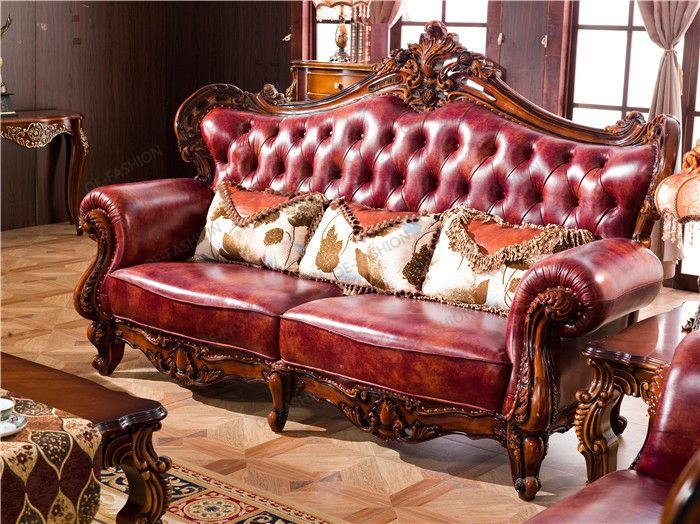 Wine red living room leather sofa set in home furniture ...