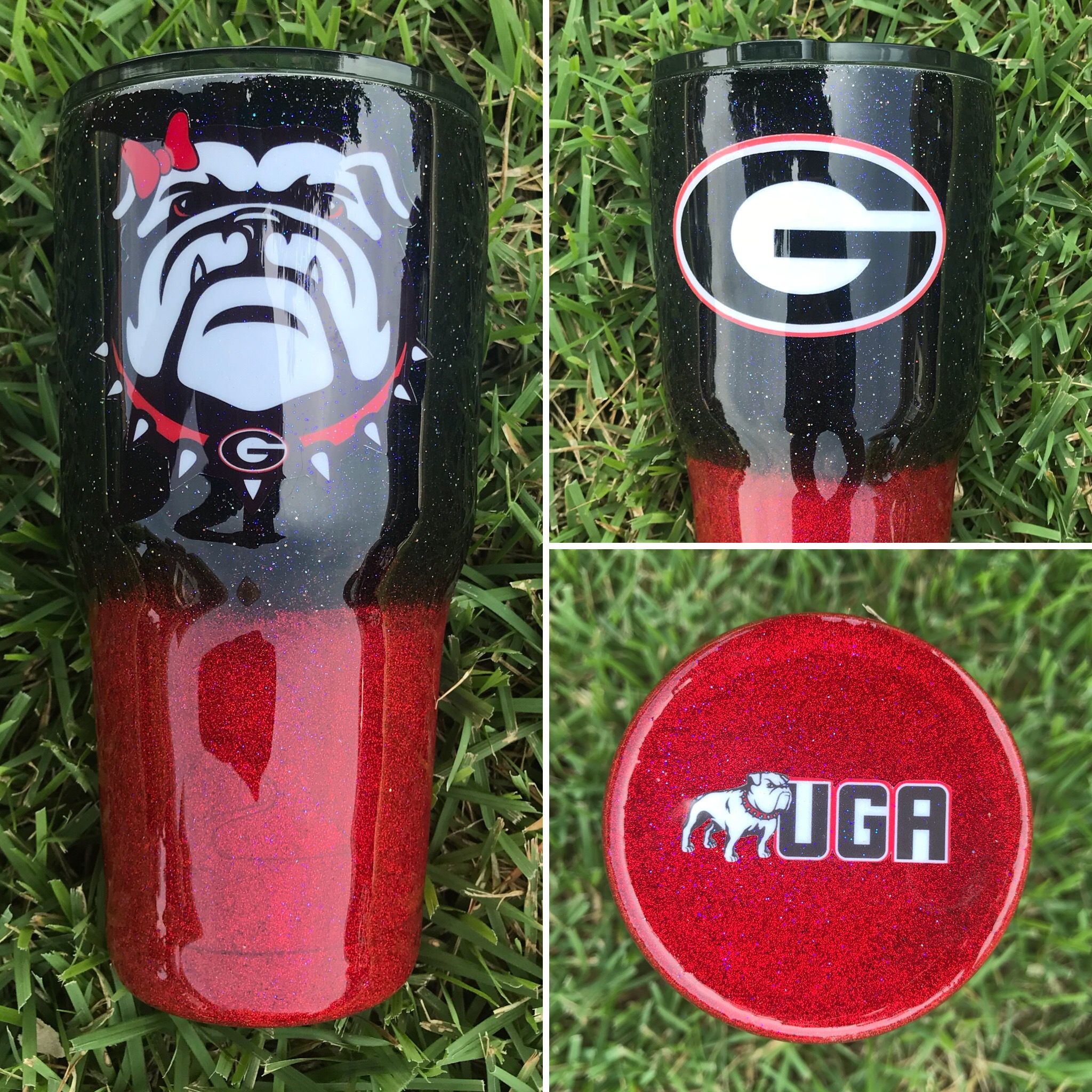Uga Bulldogs Glitter Tumbler Crafty Creations By Amber Nissen Custom Tumbler Cups Glitter Tumbler Cups Tumbler Cups Diy