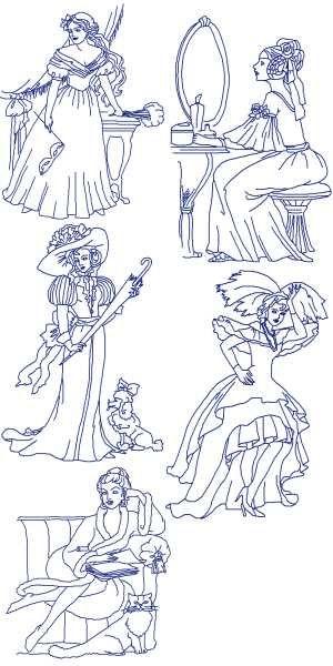 Advanced embroidery designs victorian ladies redwork set