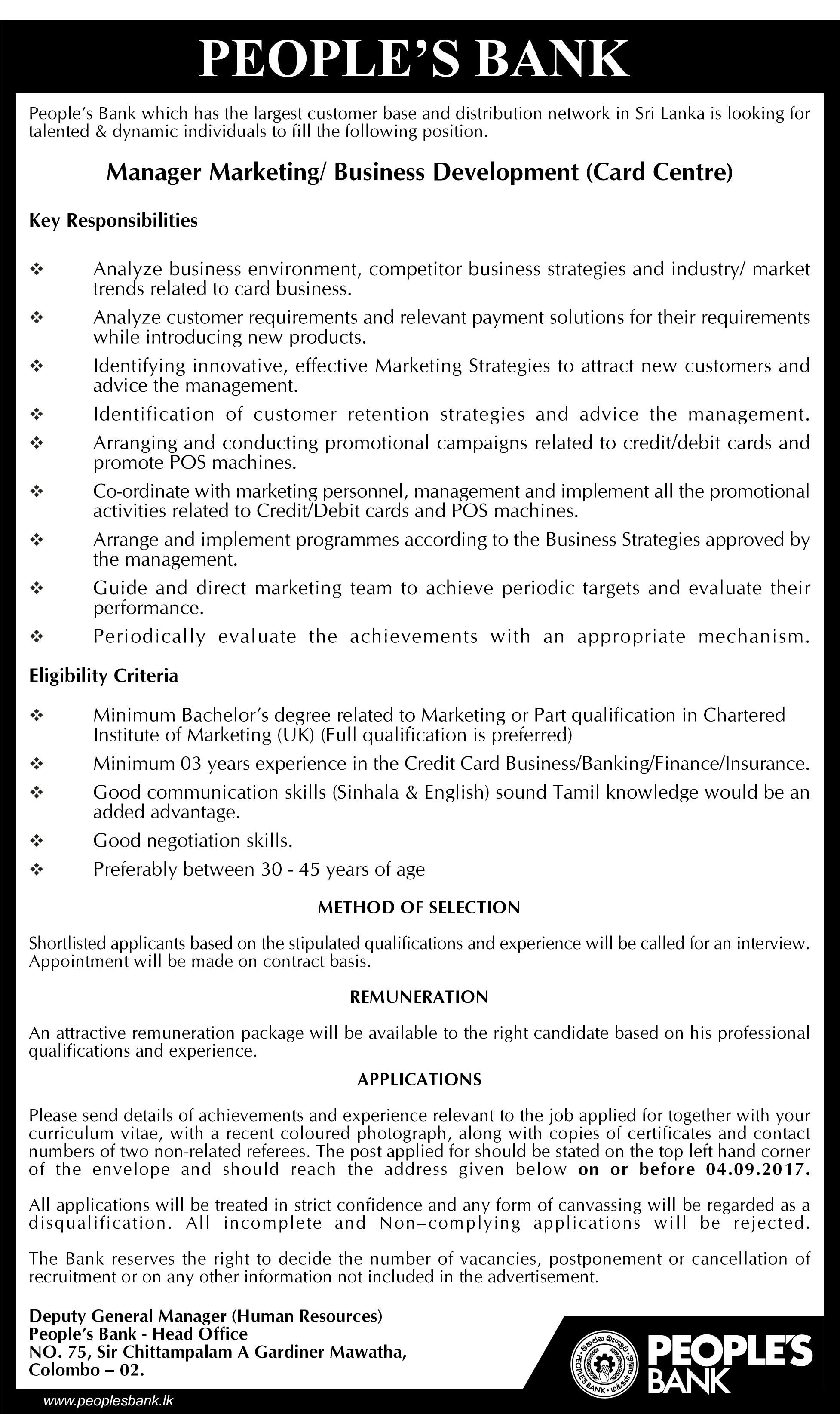 Manager Marketing Business Development At People S Bank