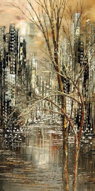 Cityscape Painting Palette Knife Art Handmade Original Birch Aspen Trees Water By Tatiana Iliina Mad Cityscape Painting Cityscape Art Abstract Art Painting