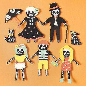 No bones about it- customizing these paper dolls is skele-tons of fun! This kit includes pre-cut shapes, printed skeleton bodies. Assembly tools needed are  scissors, 1/4 hole punch, double stick tap