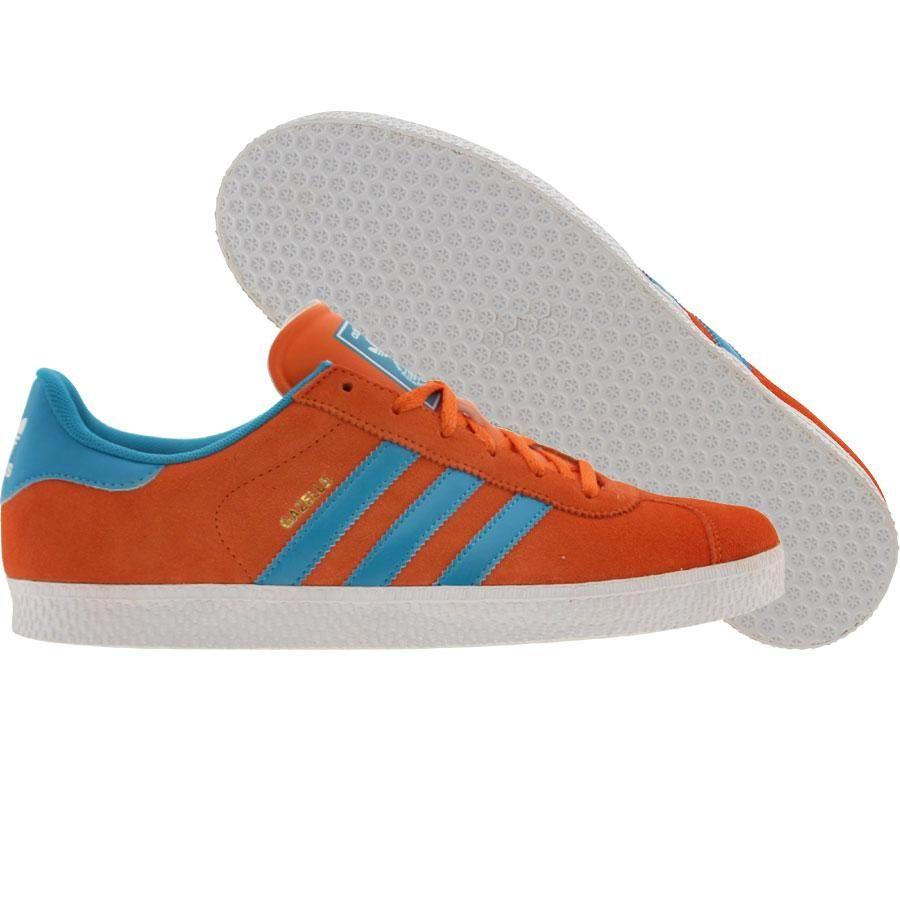 Adidas Gazelle II shoes in orange, turquoise, and white