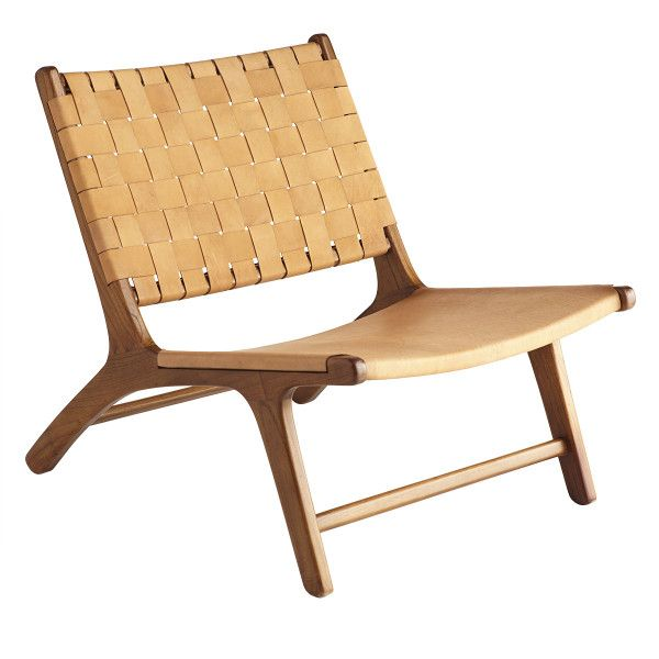 Woven Leather Lounge Chair is part of Leather lounge chair - This handwoven leather chair is expertly crafted by hand and features a sturdy wooden frame and masculine yet elegant style