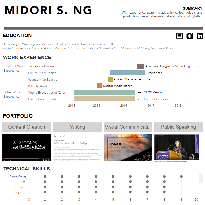 midori ng interactive resume on tableau infographic visual