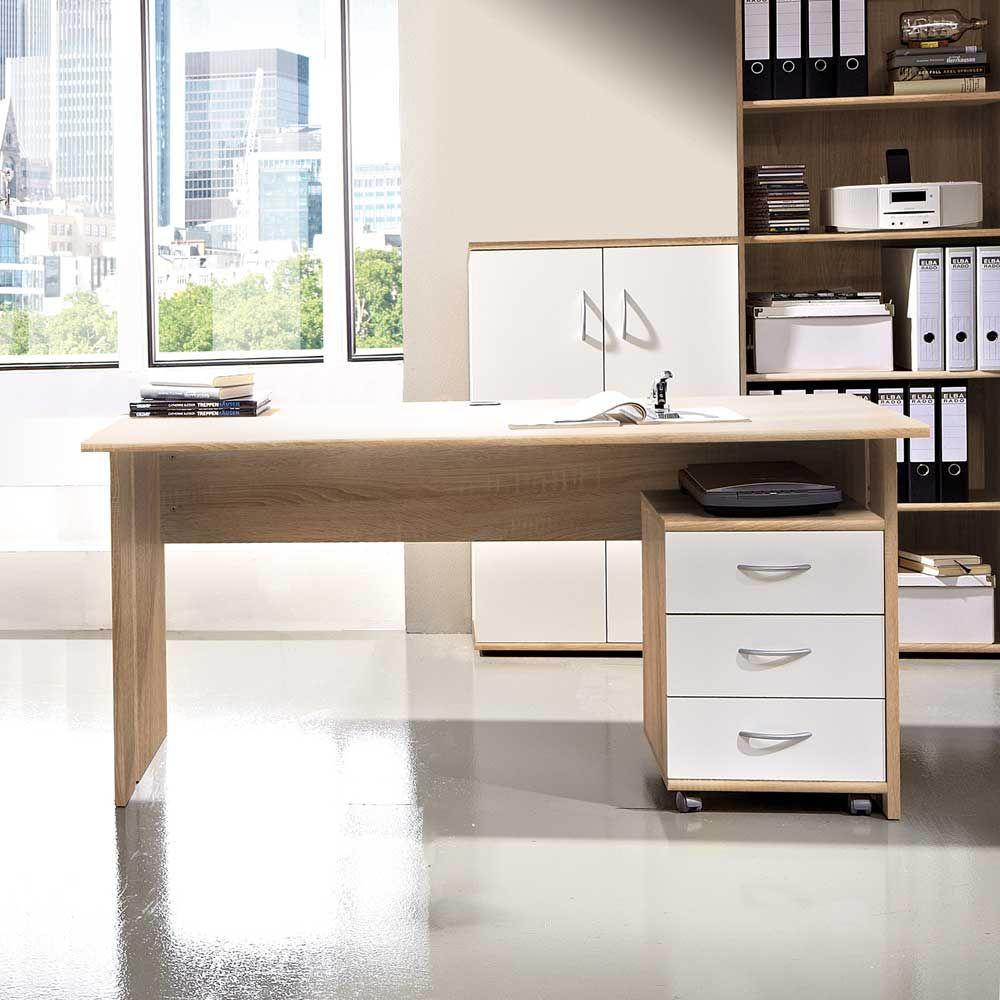 Liebenswert Schreibtisch Mit Rollcontainer Foto Von In Eiche Sonoma (2-teilig) Jetzt Bestellen Unter:
