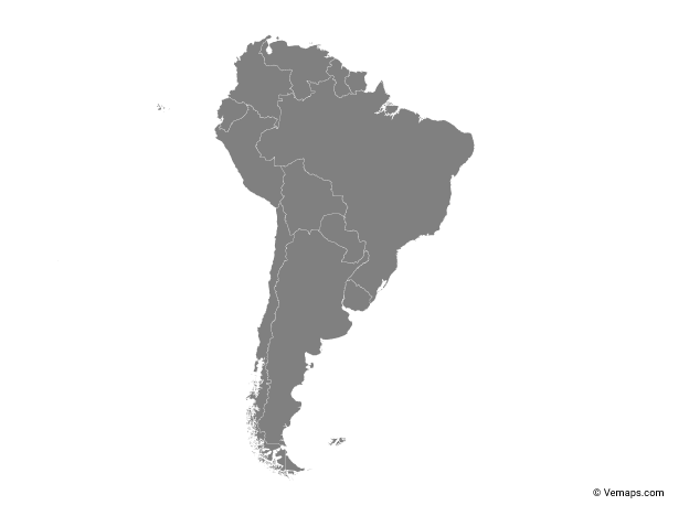 Grey Map Of South America With Countries Free Vector Maps South America Map Map Vector South America