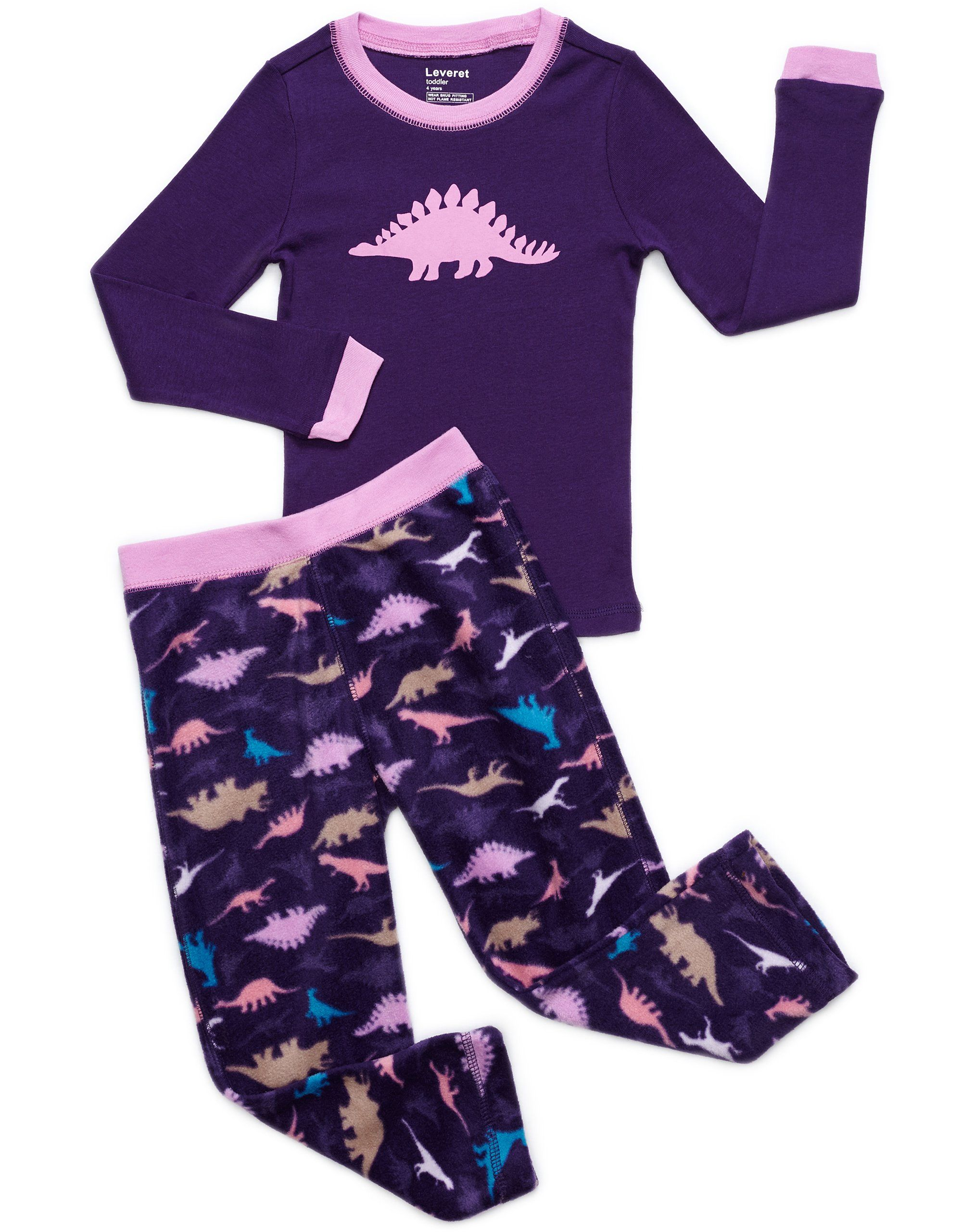 AmazonSmile: Leveret Girls 2 Piece Pajama Cotton Top & Fleece ...