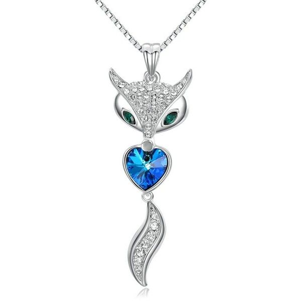 Yoursfs Gorgeous Fox Heart Shaped Sapphire Pendant Necklace Shining... ($28) ❤ liked on Polyvore featuring jewelry, white gold jewellery, white gold pendant necklace, heart jewelry, sapphire pendant necklace and crystal heart pendant