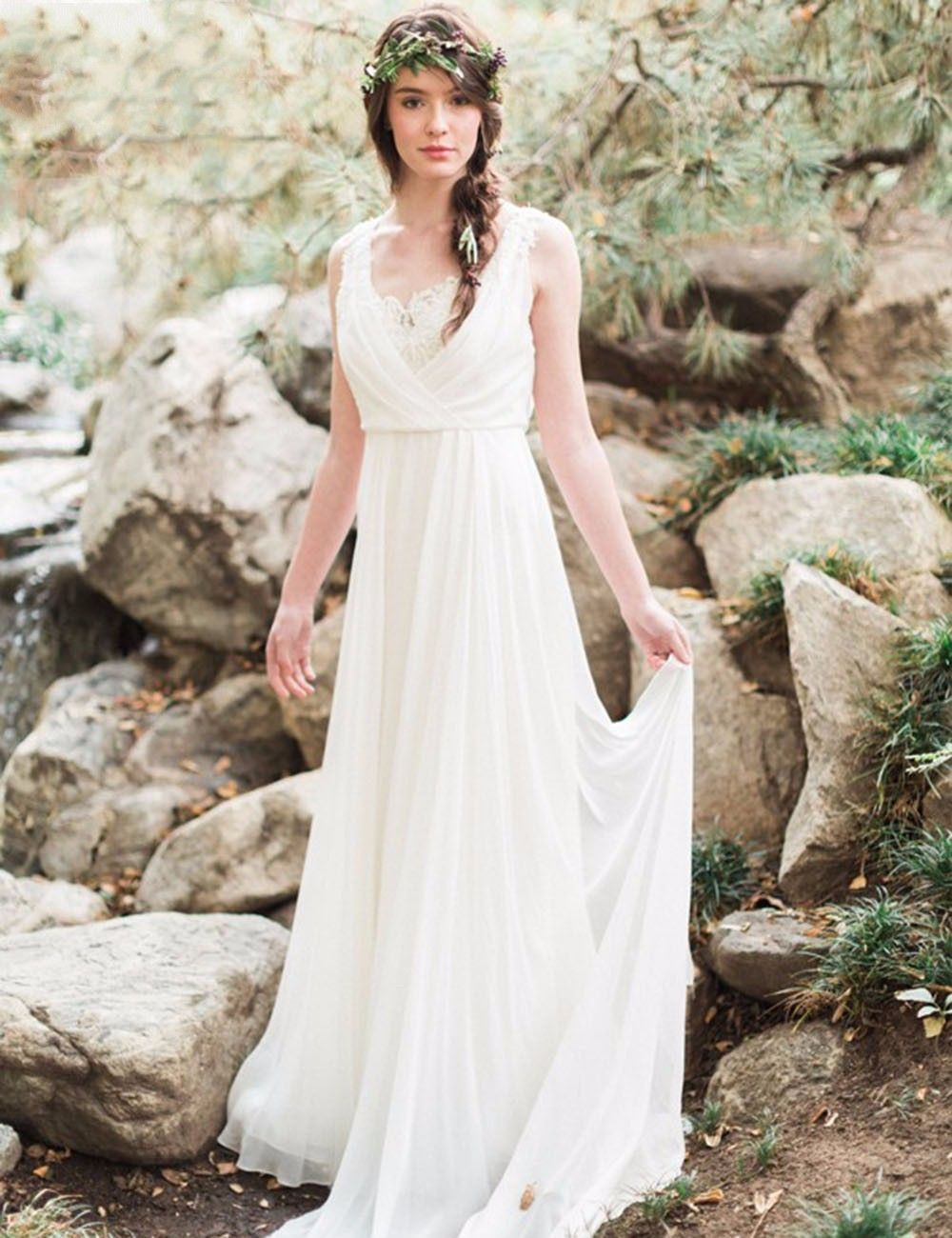 Out door elegant white ivory chiffon beach wedding dress spring