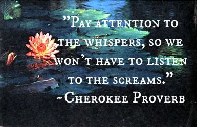 """""""Pay attention to the whispers, so we won't have to listen to the screams."""" -Cherokee Proverb"""