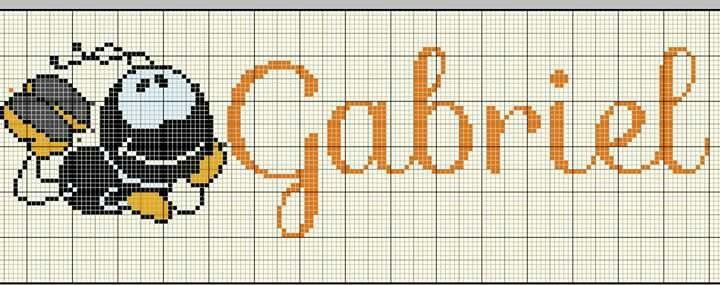 Gabriel - Smilinguido   Nomes em ponto cruz, Ponto cruz pequeno, Anjo em ponto cruz