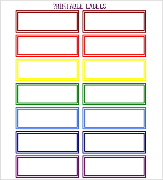This is a picture of Colored Printable Labels intended for planner stickers