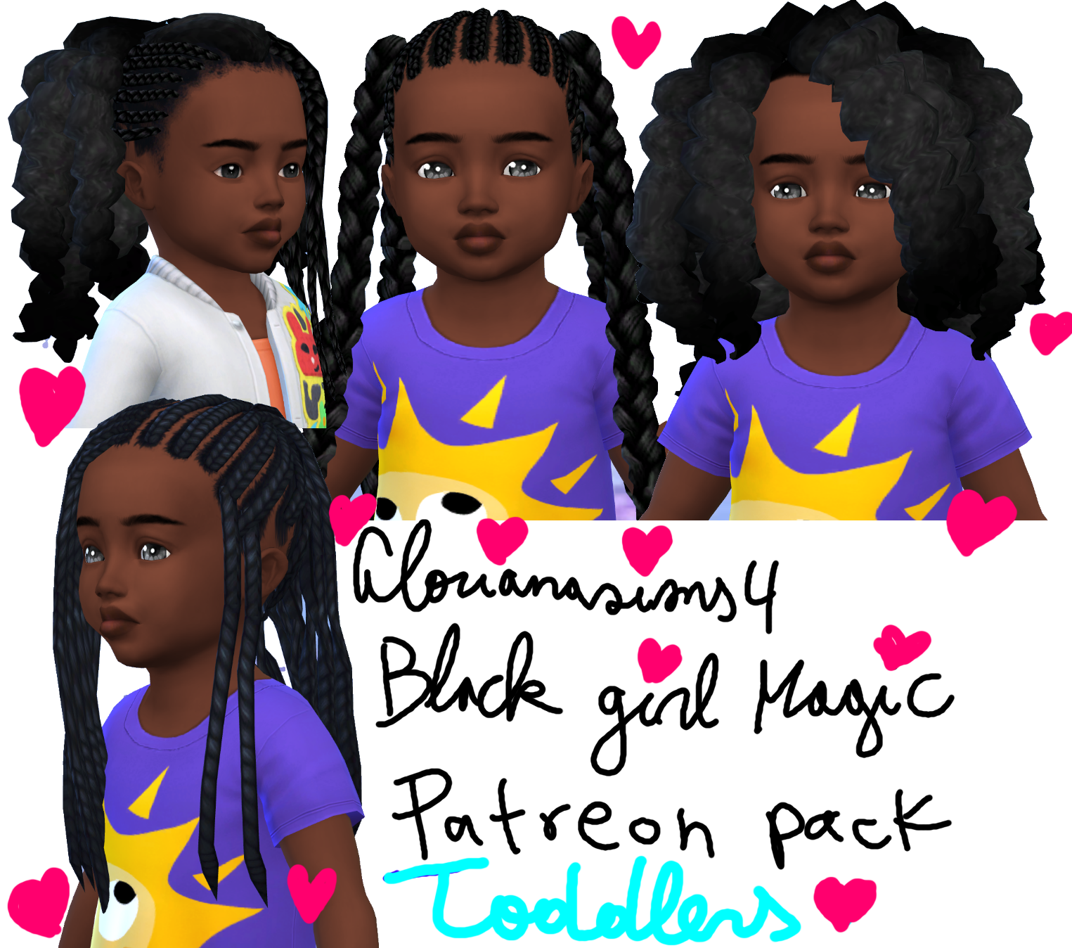 Little Black Girl Magic Glorianasims4 On Patreon In 2020 Afro Hair Sims 4 Cc Sims 4 Afro Hair Sims 4 Black Hair