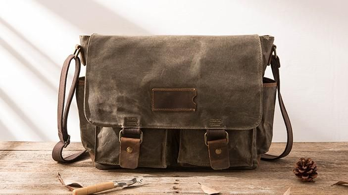 Waxed Canvas Messenger Bags for men Vintage Shoulder Bag for men –  iwalletsmen 503236eaca