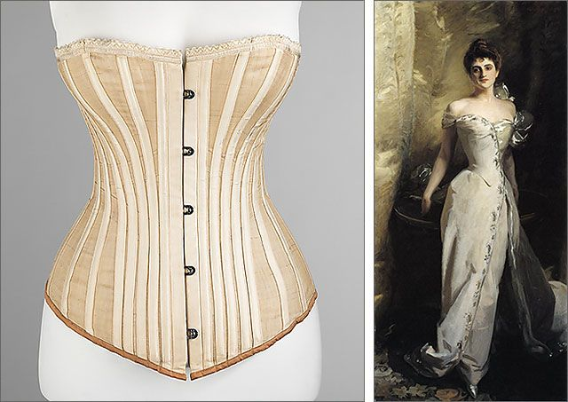 corset, by Worcester Corset Company, c. 1898, from Metropolitan Museum of Art | Mrs. Ralph Curtis by John Singer Sargent, 1898 By the late 1890s, corsets crept lower on the hip, shaping and restricting more than just the upper body.  (Jacqueline WayneGuite)