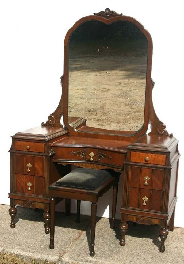 Antique Bed Stool: 1920s Walnut Vanity W Stool