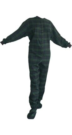 3155b4c07b34 Flannel Adult Footed Pajamas in Navy Blue and Green