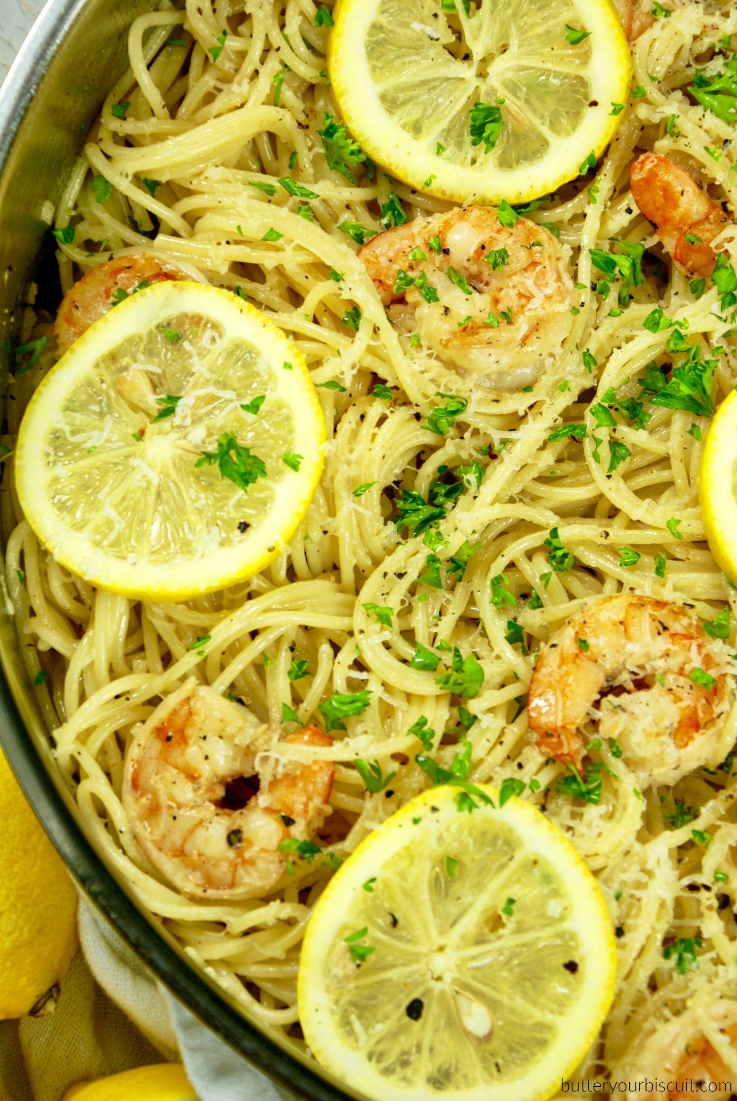 Easy Lemon Garlic Shrimp Pasta-Butter Your Biscuit