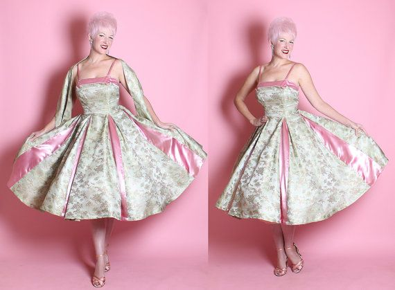 GORGEOUS 1950's New Look Couture 2 Tone Shimmering Mint Asian Silk Brocade & Pink Silk Satin Princess Party Dress w/ Matching Wrap Shawl