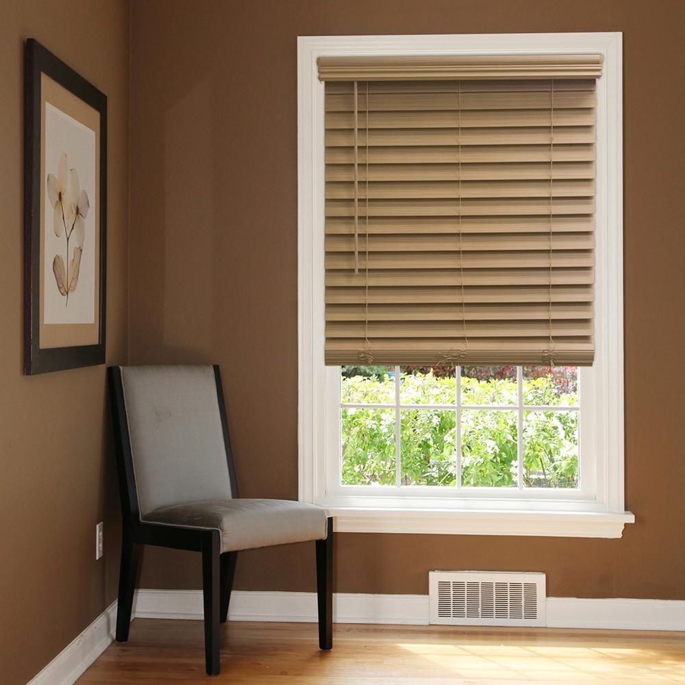 Home Decorators Collection Chestnut Cordless 2 1 2 In Premium Faux Wood Blind 70 5 In W X 64 In L Actual 70 In W X 64 In L 10793478399109 The Home Dep Faux Wood Blinds Faux Blinds Wood Blinds