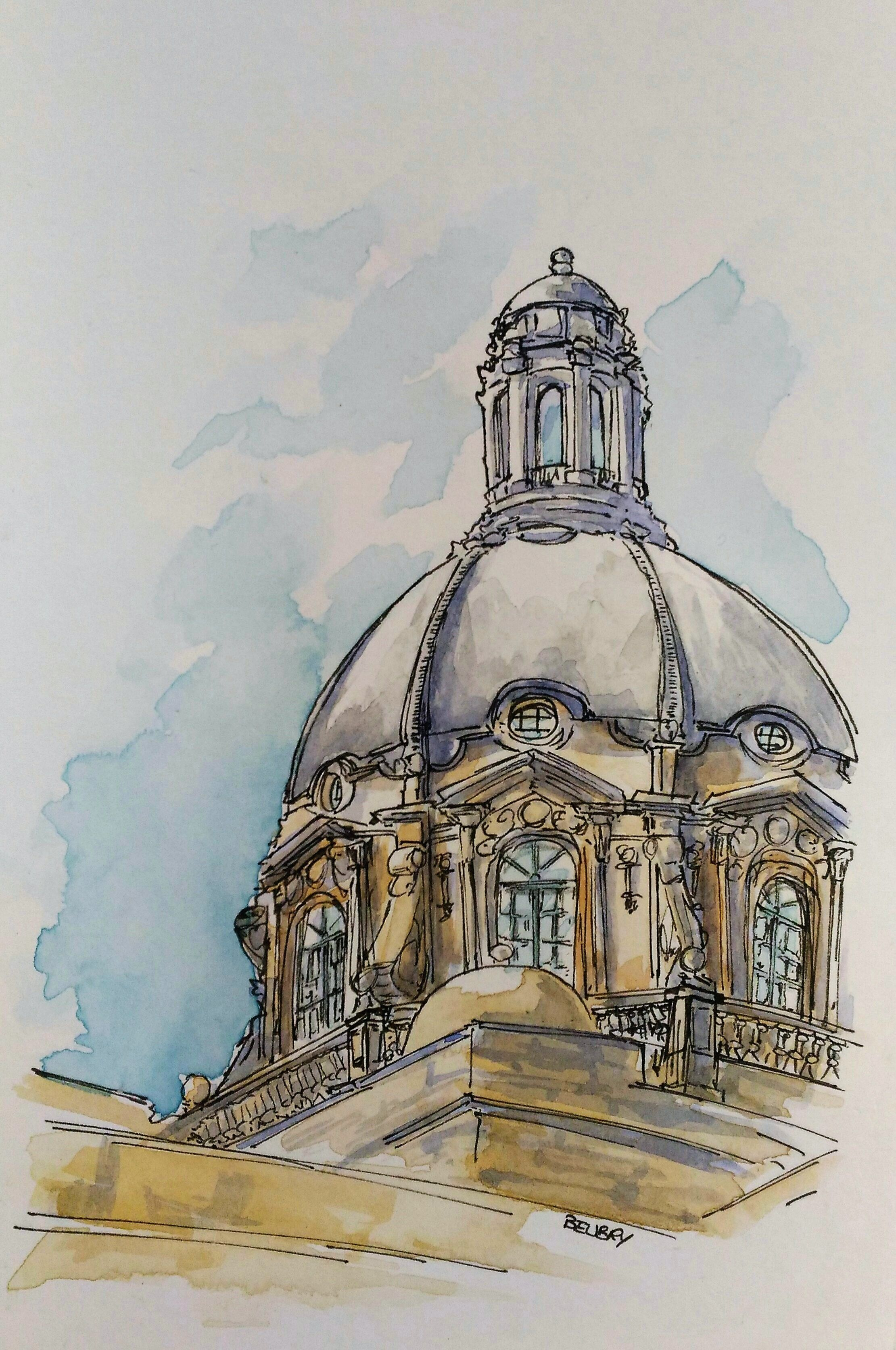 The Legislature Building Urban Sketch Watercolor Painting