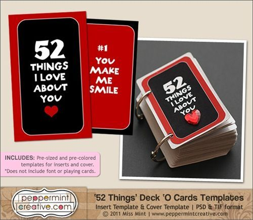 52 things I love about you - with free printable inserts - made from
