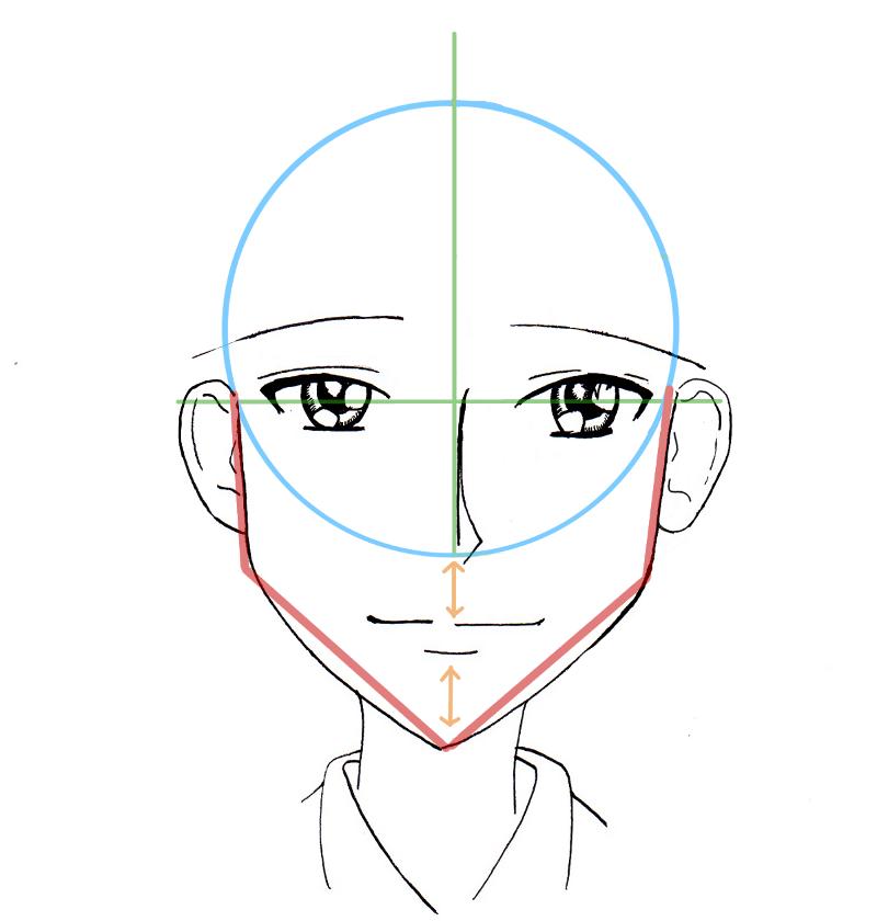 Tutoriel manga le visage de face d 39 un homme style sh j your title art pinterest - Dessiner un manga ...