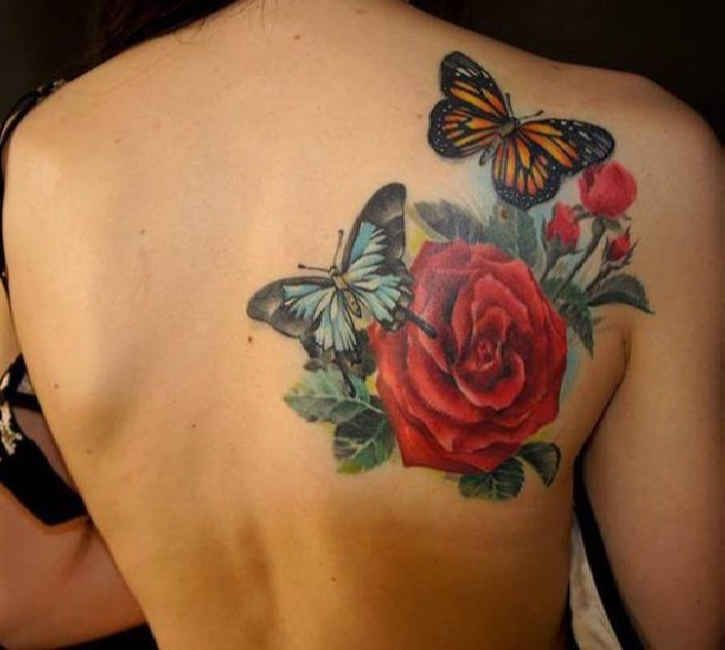 Tattoos Of Roses On Shoulder Blade Tattoo Butterflies With Roses