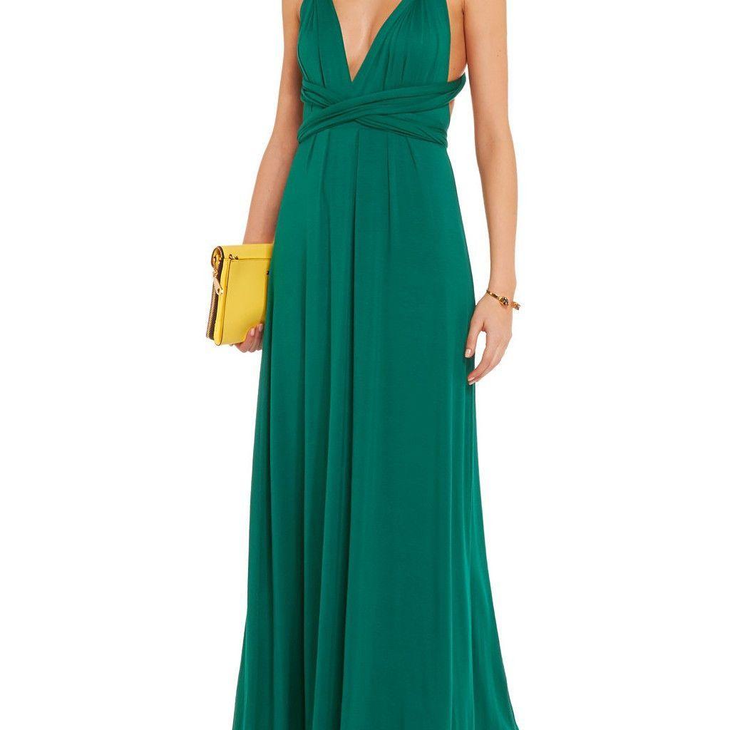Dark green floor length infinity dress emeralds pinterest products
